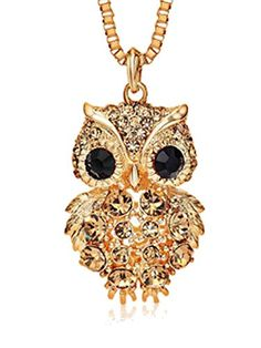 Mr Rabbit Fashion Wild Diamond Owls Long Necklace >>> Continue to the product at the image link.