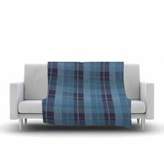 "afe images ""Blue Plaid Pattern II"" Fleece Throw Blanket from KESS InHouse"