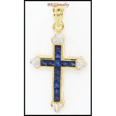 http://rubies.work/0838-ruby-pendant/ Blue Sapphire Cross Pendant Jewelry 18K Yellow Gold by BKGjewels