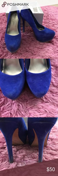 Jessica Simpson Pumps Royal blue suede pumps. 5.5size damage shown in pictures-just a little bit dirty. Worn 5 times to graduation, formals and a wedding. TONS OF LIFE LEFT Jessica Simpson Shoes Heels