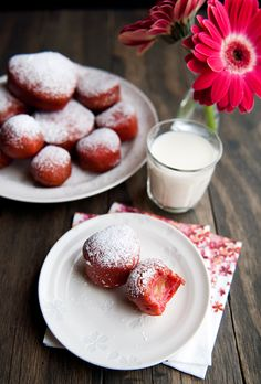 beet doughnuts filled with blood orange curd. I'm a sucker for any picture with gerbera daisies. so pink, so girly. yes!