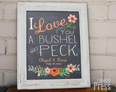 Printable Wedding Gift  Decor  Bushel and a Peck  by LadybirdPress