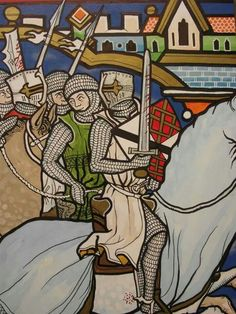 """Matthew Ryan """"Painting (in period manuscript style, Morgan Bible) of the Battle of Evesham, 2014 Medieval Knight, Medieval Armor, Medieval Manuscript, Illuminated Manuscript, Christian Warrior, Classical Antiquity, Late Middle Ages, Knight In Shining Armor, Drawing Projects"""