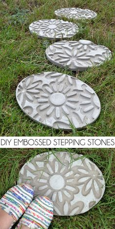 How gorgeous are these DIY embossed stepping stones? I had no idea it was this simple to learn how to make stepping stones!