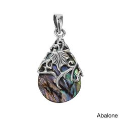 A floral vine of sterling silver en-wraps a teardrop shaped shell or stone pendant in this design. This pendant is a perfect addition for a vintage yet fashionable style.