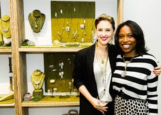 Designer Lisa Salzer (left) with Amber, our retail coordinator (right)