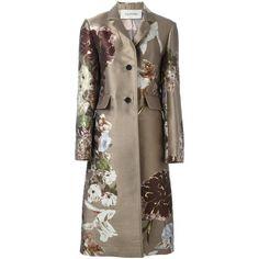 Valentino 'Kimono 1997' floral jacquard coat (78 020 UAH) ❤ liked on Polyvore featuring outerwear, coats, jackets, floral kimono, kimono coat, floral coat, pattern coat and print kimono