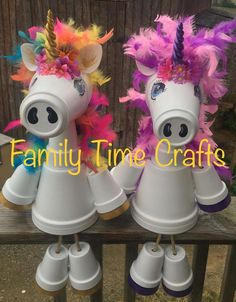Sweet magical clay pot Unicorns made by Family Time Crafts. Clay flower pot cow, I made with a list of pot's sizes. Flower Pot Art, Clay Flower Pots, Flower Pot Crafts, Clay Pot Projects, Clay Pot Crafts, Diy Clay, Shell Crafts, Garden Crafts For Kids, Crafts For Kids To Make