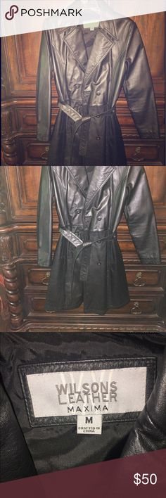 Leather coat Black genuine leather coat. Fully lined. Worn just a few times. Perfect condition! Very classy! Size medium Wilsons Leather Jackets & Coats