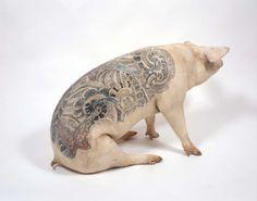 Les tatouages sur cochon de Wim Delvoye tatouage cochon 01 art
