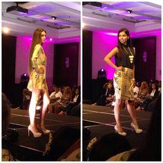 Wesley Yu Designs at Fashion on the Square San Francisco Fresh Faces runway show.  Model (Right) Elveera Rebello