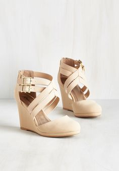 Boost Your Bliss Wedge in Beige. Your upbeat attitude will reach breakthrough levels as soon as you sneak your toes into these beige wedges! #cream #modcloth