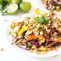 Rainbow chopped Thai chicken salad with a sticky & sweet homemade Thai peanut dresing