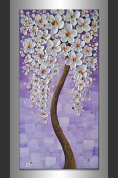 Abstract White Pink Cherry Blossom Tree Acrylic Painting Textured Artwork 12x24 Landscape Blooming Tree Wall Decor Modern Art by ZarasShop