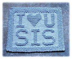 I Love U Sis Dishcloth pattern by Rachel van Schie