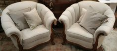 Fabulous Find!!  From New Vendor, Lisa Lang, 19th Century Carved Club Chairs, Newly Recovered Linen Fabric - Very Comfortable and Very Decorative! $1250.00/Pair.