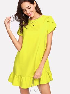 SheIn offers Petal Sleeve Ruffle Hem Dress & more to fit your fashionable needs. Casual Dresses For Women, Short Sleeve Dresses, Long Sleeve, Shift Dress Pattern, Kurta Designs Women, Embellished Dress, Mellow Yellow, Latest Dress, Fashion Outfits