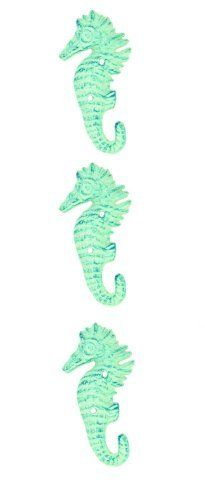 Seahorse Wall Hangers Cast Iron Antique Light Blue - Set of 3 for Coats, Aprons, Hats, Towels, Pot Holders, More $14.99