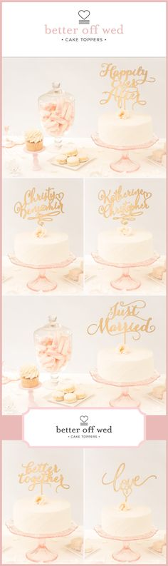 Gold Wedding Cake Toppers by Better Off Wed on Etsy. http://betteroffwed.etsy.com/