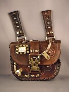Steampunk leather pouch / bag by IsilWorkShop on Etsy, $60.00