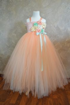 Peach Ivory and Mint Flower girl dress by TutuSweetBoutiqueINC, $40.00