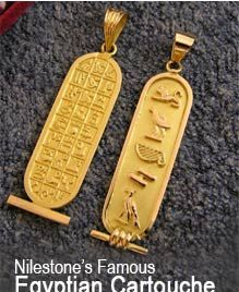 Egyptian jewelry, Unique Collection of Egyptian themed jewelry and cartouches