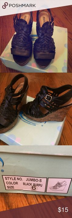 black strapped wedges 5 inch wedges, some scuffs on back, very comfortable Soda Shoes