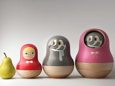 Pistacchi Design - Little Red Riding Hood Concept Design for modern nesting stacking dolls and bowls