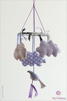 Handmade cloud mobile by My little factory - mobile nuages et oiseau violet // claradeparis.com ♥