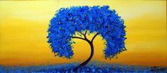 """BUZZI Unikat Art Acryl """"Blau in der Landschaft"""" von Licht & Schatten auf DaWanda.com"""