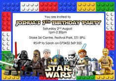 10 Personalised Lego Star Wars Birthday Party invitations / Thank you cards