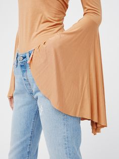 Frida Aasen || FP WE THE FREE Birds Of Paradise Sexy Off-The-Shoulder Top with Ultra Dramatic Flared Sleeves (Camel)