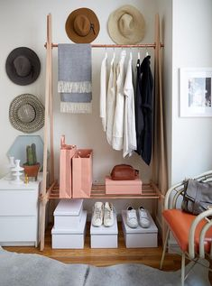 Storage Ideas For Small Spaces Apartment Tiny Closet Unique How To Magically Create A Bedroom In Your Tiny Space Tiny Spaces, Small Apartments, Studio Apartments, Makeshift Closet, Feminine Apartment, Feminine Bedroom, Diy Hat Rack, Hat Racks, Hat Hanger