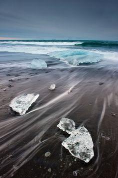 Jökulsárlón, a large glacial lagoon in southeast Iceland,