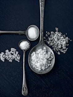 Auraphoto - Rob Fiocca. clever composition, greys, silver, salt, spoons, still life, styling