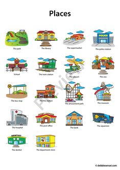 Debbie Sensei - Free ESL Places Flashcards Learning English For Kids, Teaching English Grammar, English Writing Skills, French Language Learning, English Lessons, English Vocabulary, French Lessons, German Language, Spanish Lessons