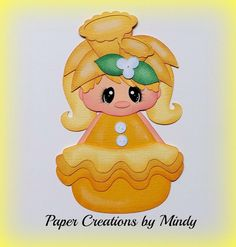 Petal Pals Daffodil Flower girl kids premade paper piecing for scrapbooking page