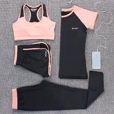 Verzy 2017 Yoga Set Women Fitness Running Exercise Sport Bra+Pants+Shirt+Coat+Shorts+Vest 3colors Breathable Push up Sports suit #yogaset