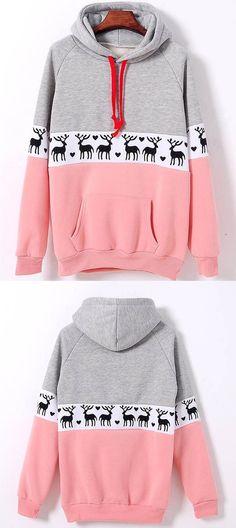 8DESS Christmas Deer Pullover Sweatshirt Hoodie Top Sweater