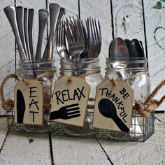 Silverware Holder Tags Mason Jar Caddy Labels by CountryTags