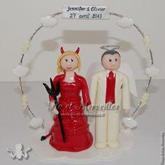 Wedding cake topper ange et démon    http://www.flo-et-merveilles.fr/