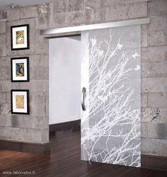Frosted Glass Interior Doors, Glass Barn Doors, Sliding Glass Door, Etched Glass Door, Living Room Partition Design, Room Partition Designs, Slider Door, Sliding Door Design, Room Divider Doors