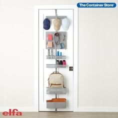 Come home to a bright, clear, organized entryway with our exclusive Elfa Utility Entry Over the Door Rack. Available only at The Container Store, this solution features Utility Boards and Hooks to give you a place to hang your hat, as well as keys, leashes, sunglasses and lanyards. Mesh Baskets serve as convenient landing areas for handbags, umbrellas, schoolbooks - even mail. Designed to make the most of often-wasted vertical space on a door or wall, this rack is totally customizable. Shoe Storage Door, Closet Storage, Behind Door Storage, Storage Room, Room Doors, Closet Doors, Entry Closet, Hall Closet, Rack Solutions