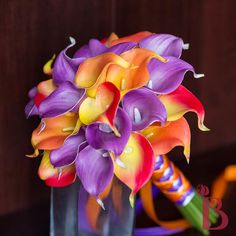 Purple and orange real touch calla lily bouquet, perfect for fall or tropical weddings, custom made in Vermont