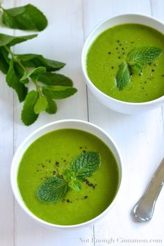 Pea and Mint Soup {cold or warm} - notenoughcinnamon.com