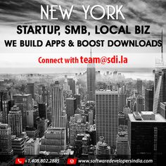 #Newyork #Startup #SMB #Localbiz We build #apps and #boost downloads. Call us on 408 802 2885 or Email : team@sdi.la for free #appconsultation