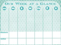Printable Week at a Glance Calendar {Printable Calendar ...