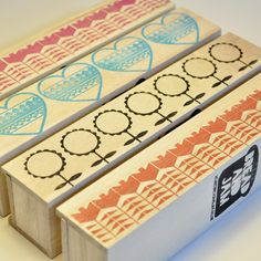 Pencil Case - Wooden with block printed chocolate brown geometric flowers