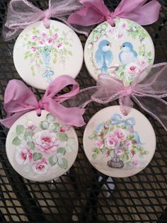 Hand painted Christmas ornaments by Karen Fleming