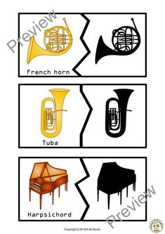 Fun game for kids to recognise, learn the names, and match music instruments shadows. Use them for memory games, matching games, as a center, or whatever else you choose! This file contains .pdf set for 53 music instruments puzzles (18 pages). #elmused #music #musicgame #musicinstruments #musicworksheets #AMStudio Puzzle Games For Kids, Fun Games For Kids, Music Worksheets, File Folder Games, Memory Games, Music Files, Music Classroom, Matching Games, Infant Activities